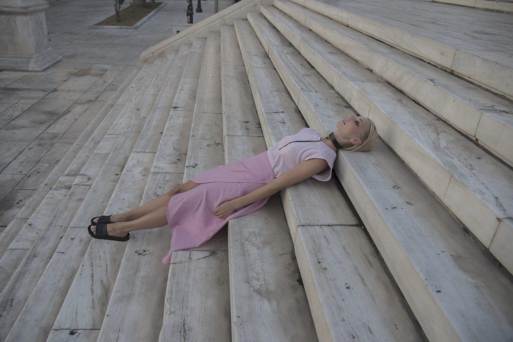 shirt : pnk casual skirt : pnk casual shoes : Birkenstock choker : Eleanna Katsira